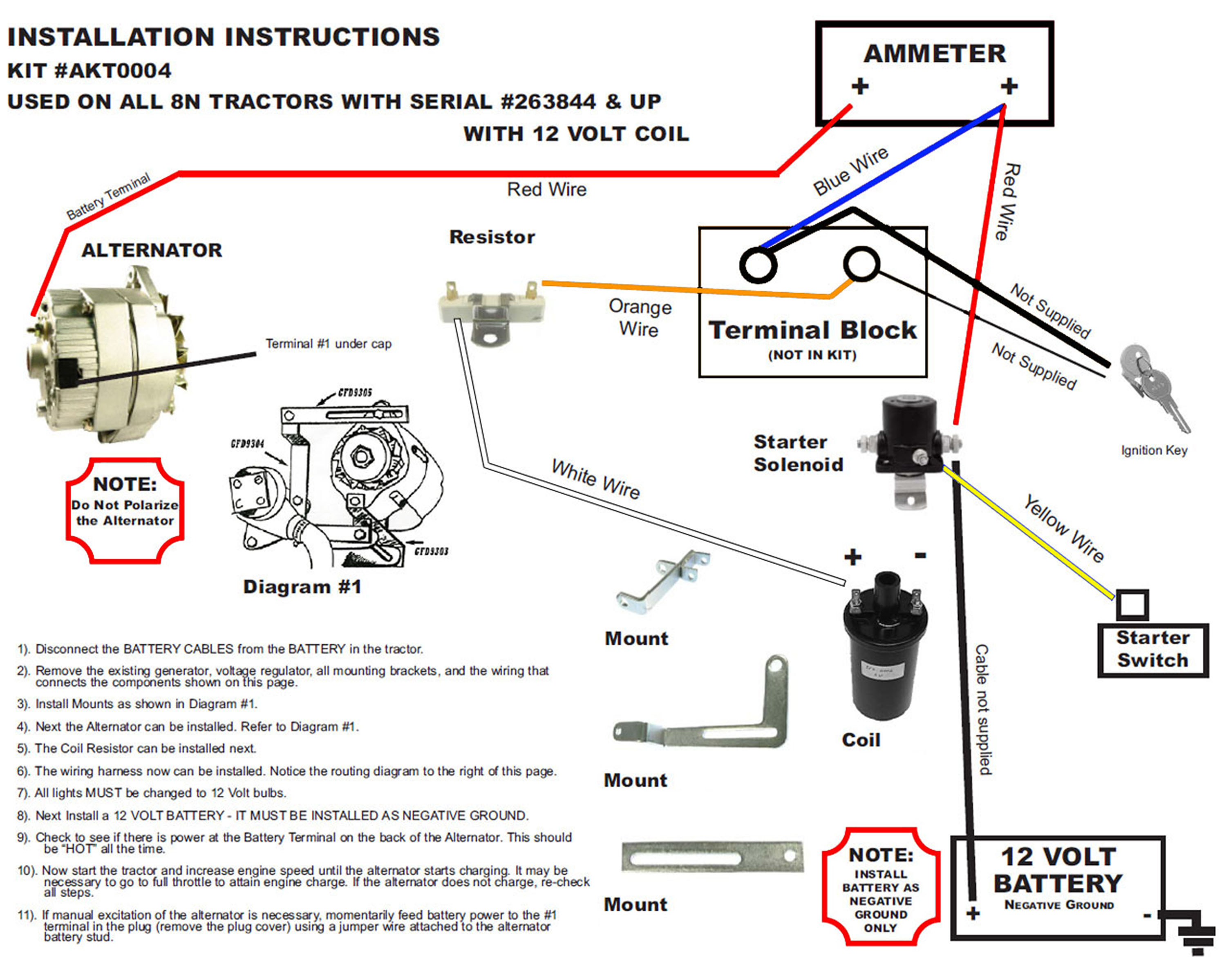12 Volt Wiring Diagram Ford 8N Tractor 1 Wire Alternator - Wiring - 12 Volt Alternator Wiring Diagram