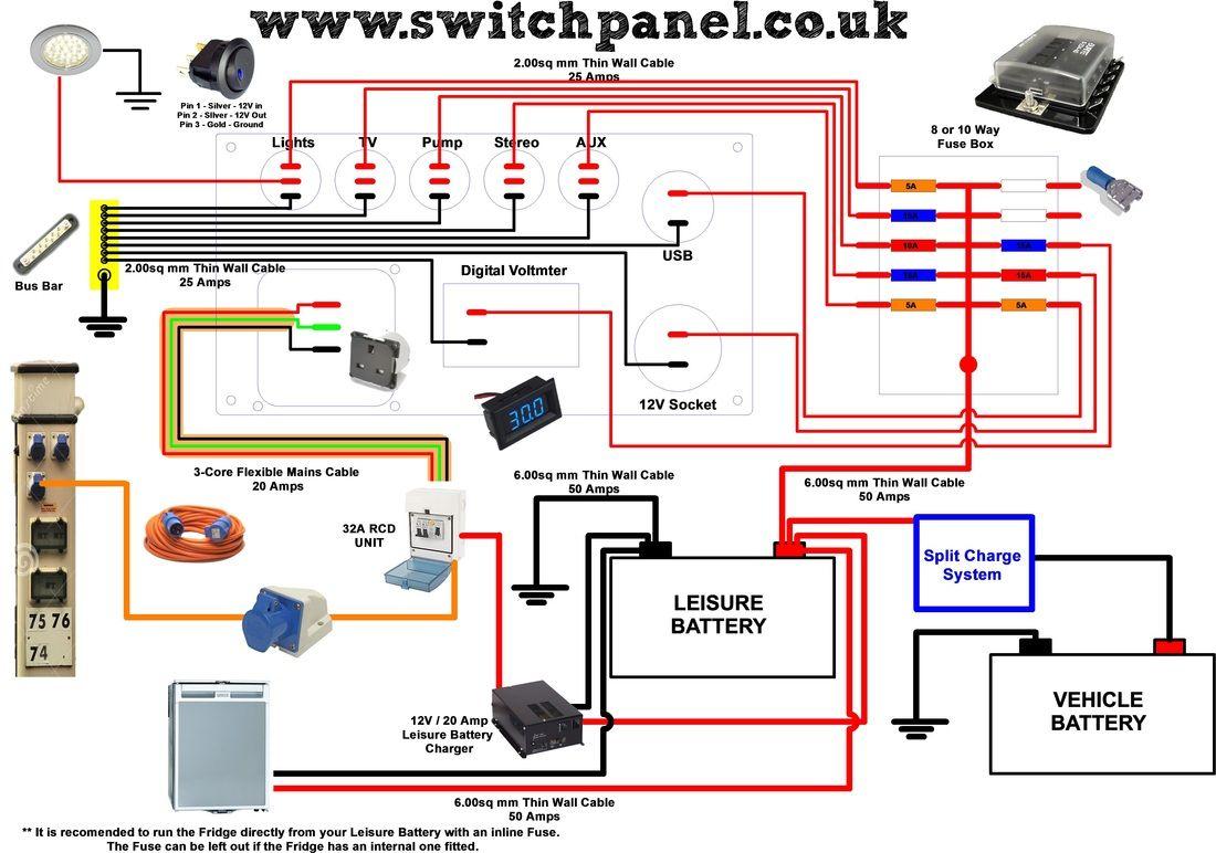 12V/ 240V Camper Wiring Diagram | Vw Camper | Camper, Camper Van - Campervan Wiring Diagram