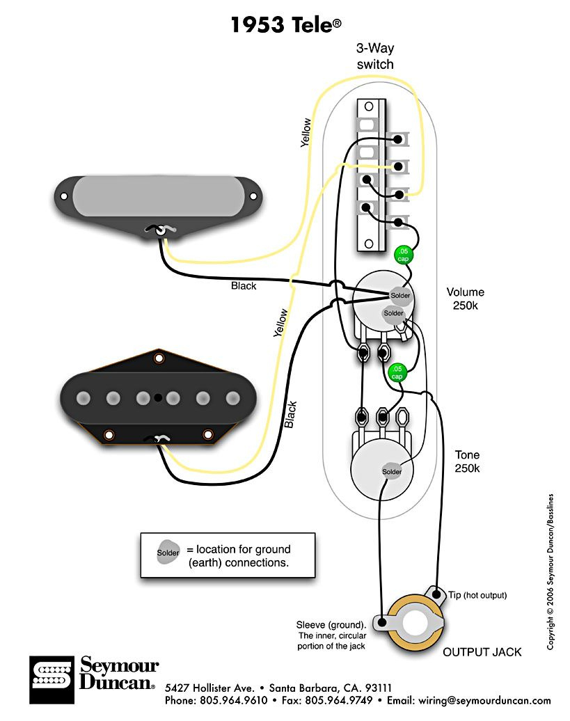 1953 Tele Wiring Diagram (Seymour Duncan) | Telecaster Build - Telecaster Wiring Diagram