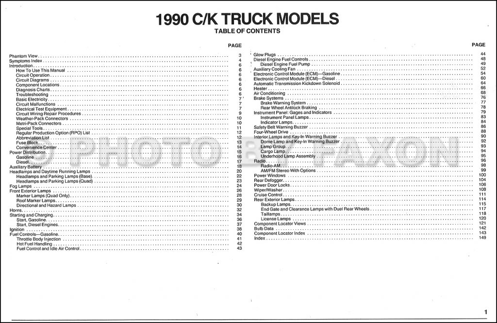 1990 Chevy C/k Pickup Wiring Diagram Manual Original   1990 Chevy Truck Wiring Diagram