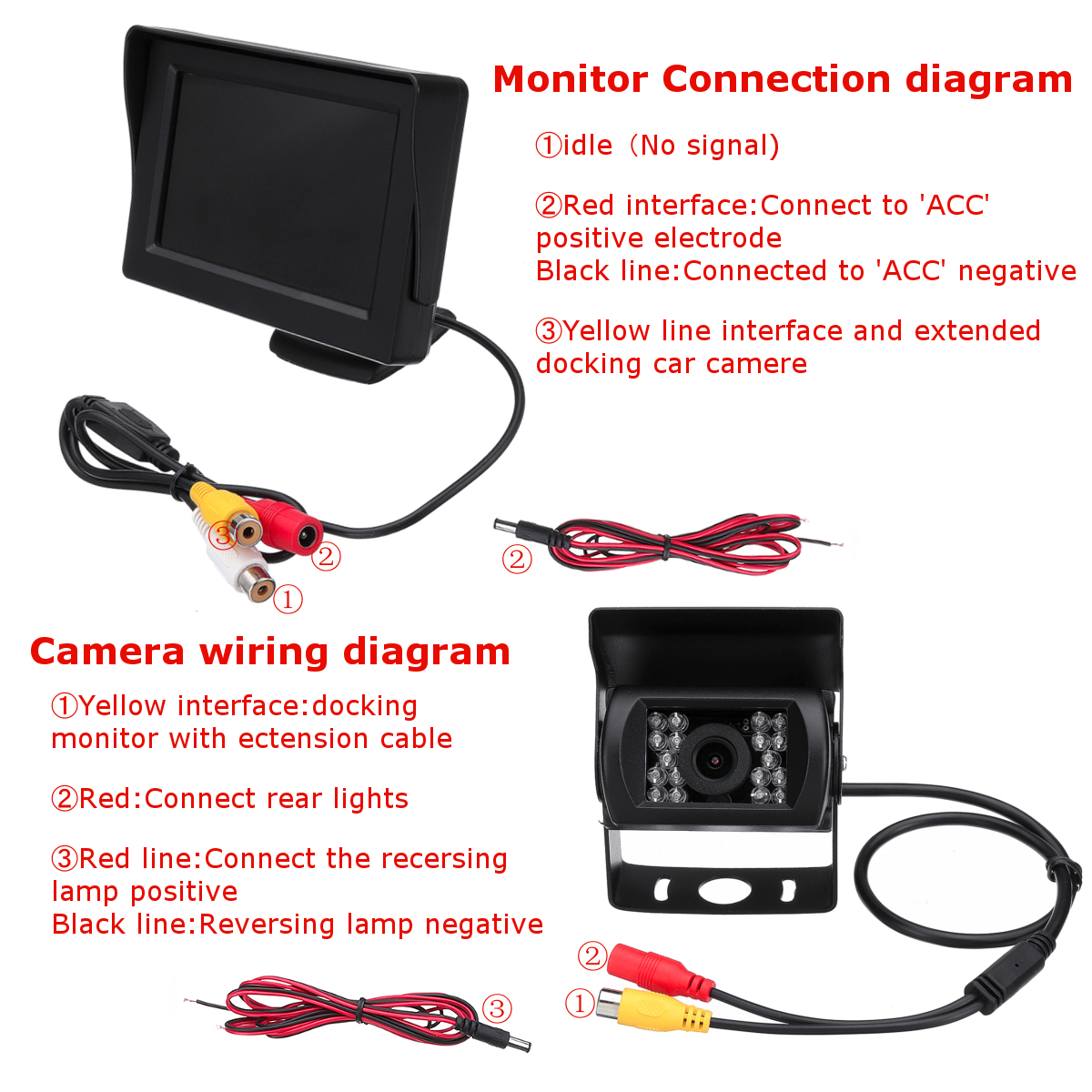 Fabulous 2 4G Wireless Car Rear View Camera 4 3 Inch Monitor For 12 24V Truck Wiring Digital Resources Aeocykbiperorg