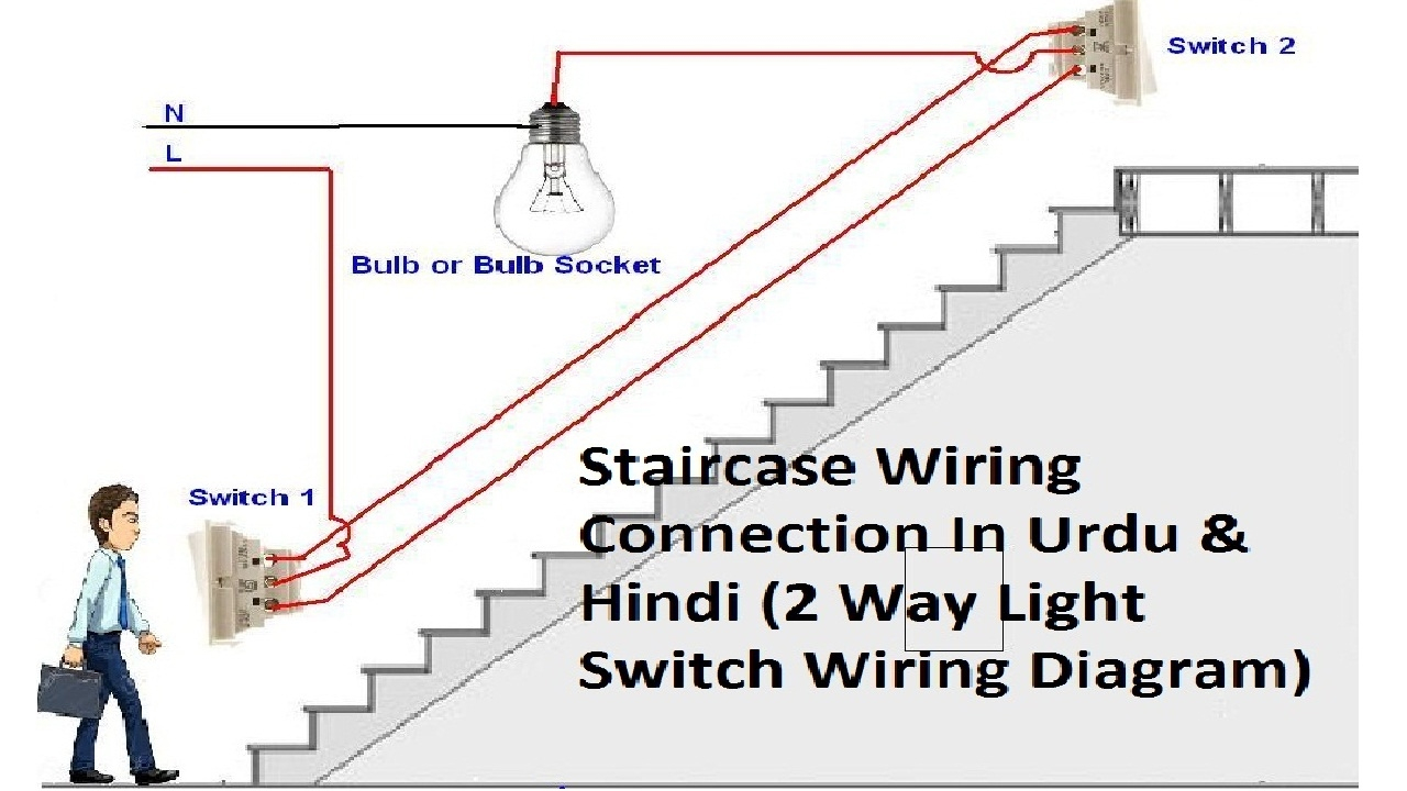 2 Way Light Switch Wiring || Staircase Wiring Connections || In Urdu - 2 Way Switch Wiring Diagram