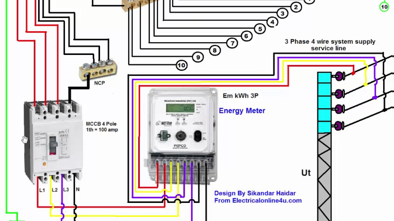 3 Phase Wiring Installation In House | 3 Phase Distribution Board - Single Phase House Wiring Diagram