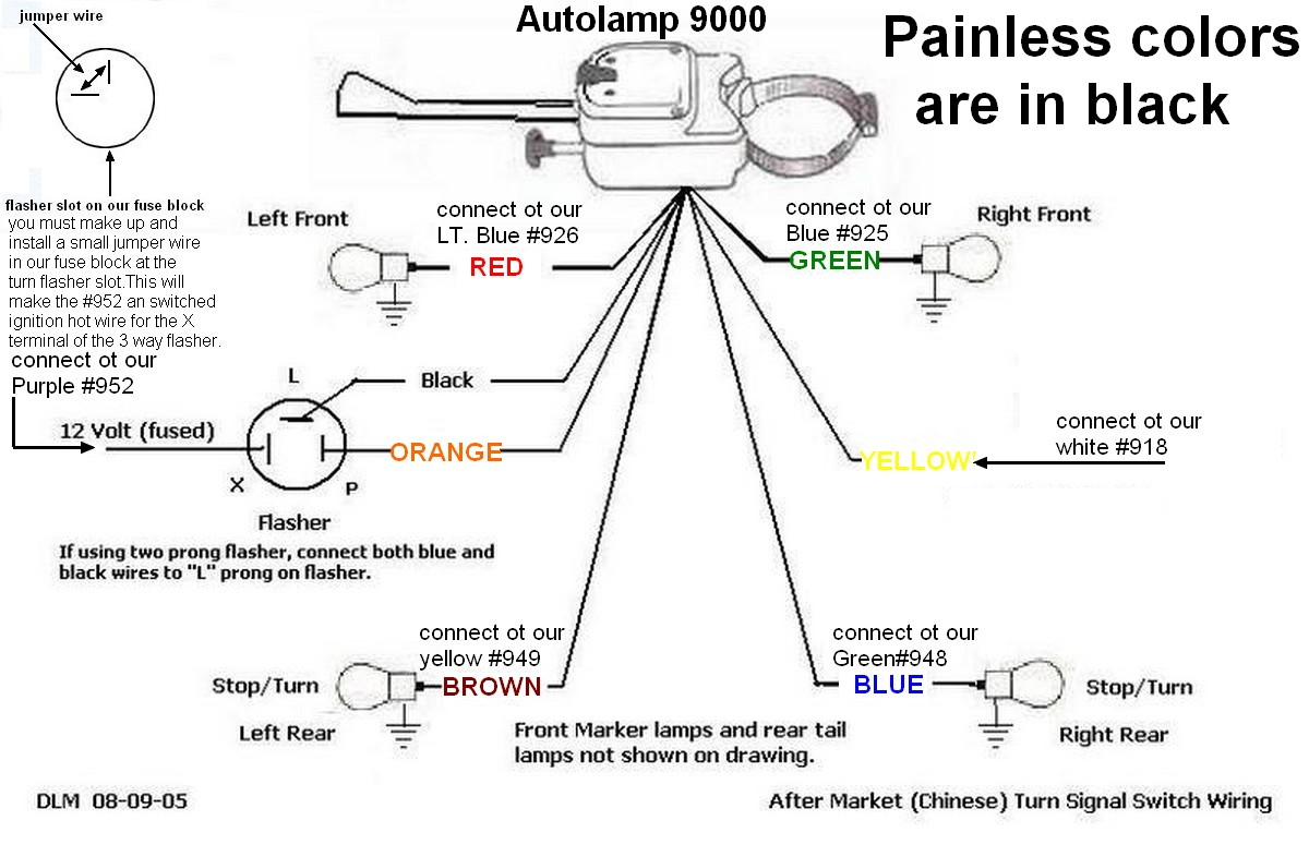 Universal Turn Signal Wiring Diagram - Wiring Diagram Data on universal engine wiring diagram, flhx turn signal wire diagram, simple turn signal diagram, universal turn signals for cars, universal wiring diagram everlasting, circuit diagram, 58 t-bird turn signal switch diagram, mustang sequential flasher diagram, universal wiper motor wiring diagram, 90 town car turn signal diagram, street rod turn signal diagram, 7-wire turn signal diagram, attitude indicator diagram, chevy turn signal diagram, empi universal turn signal switch diagram,