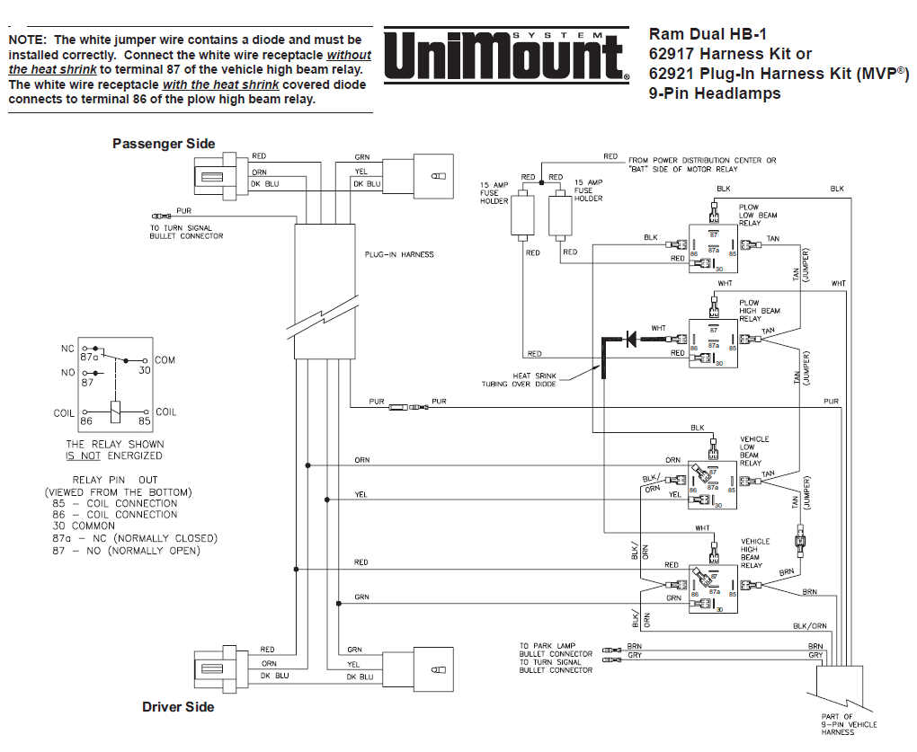 62917 western unimount hb 1 headlight harness kit dodge ram 99 2006 Dodge Viper Wiring Diagram 62917 western unimount hb 1 headlight harness kit dodge ram 99 \u2013 boss plow wiring diagram