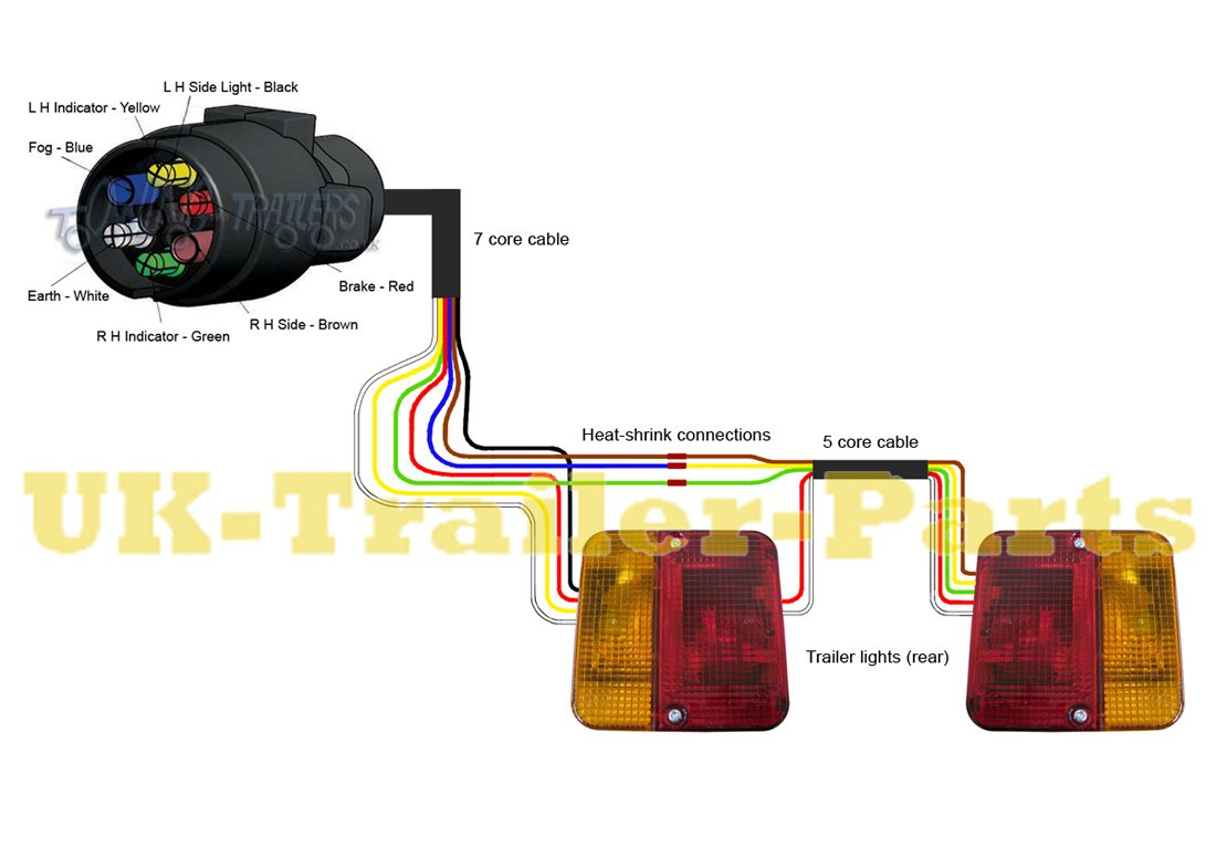 7 Pin 'n' Type Trailer Plug Wiring Diagram | Uk-Trailer-Parts - Light Socket Wiring Diagram