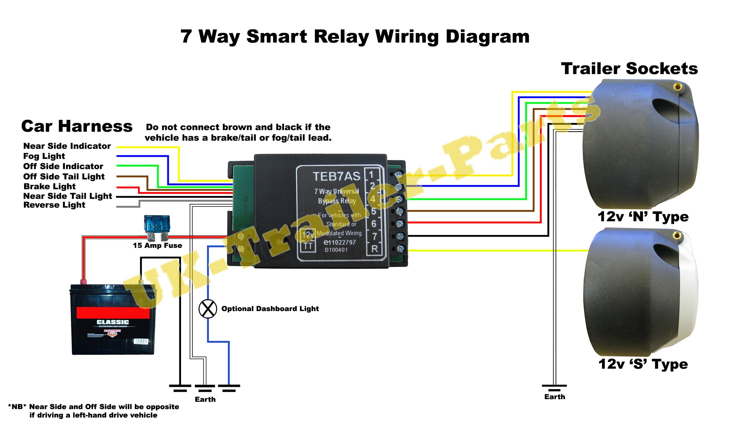 7 Way Universal Bypass Relay Wiring Diagram   Uk-Trailer-Parts - 7 Wire Trailer Wiring Diagram