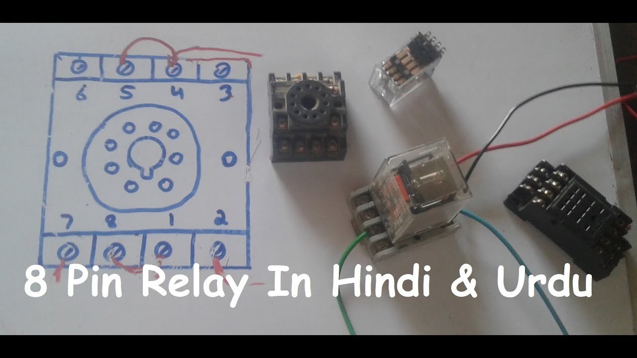 8 Pin Relay Wiring Connection With Base/socket In Hindi & Urdu - Youtube - 8 Pin Relay Wiring Diagram