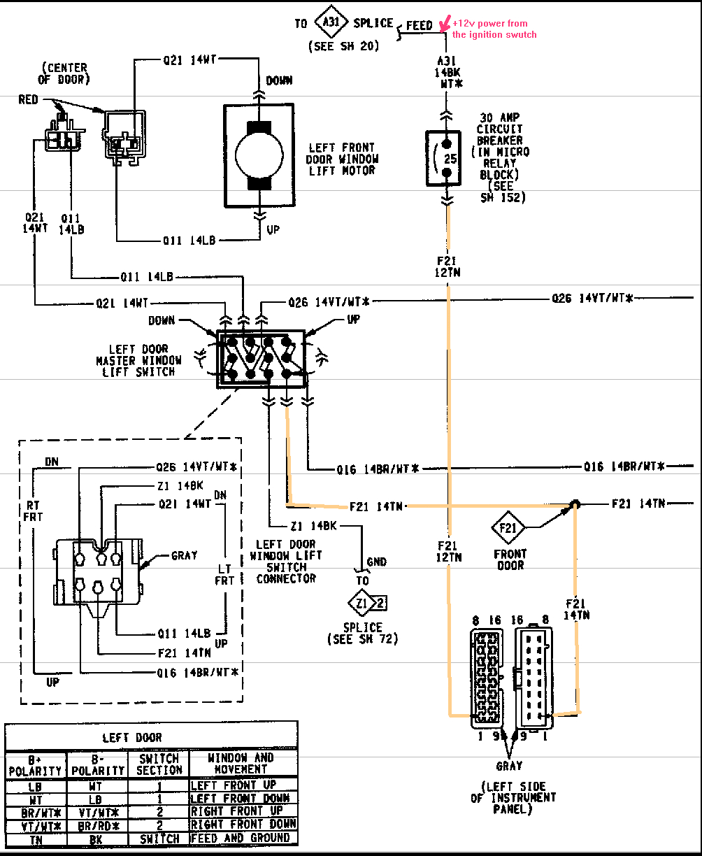 98 Plymouth Power Window Switch Wiring Diagram | 1994 Plymouth Grand - Power Window Switch Wiring Diagram