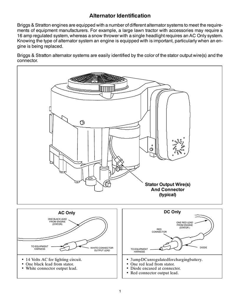 Alternator Identification - Briggs And Stratton Alternator Wiring Diagram