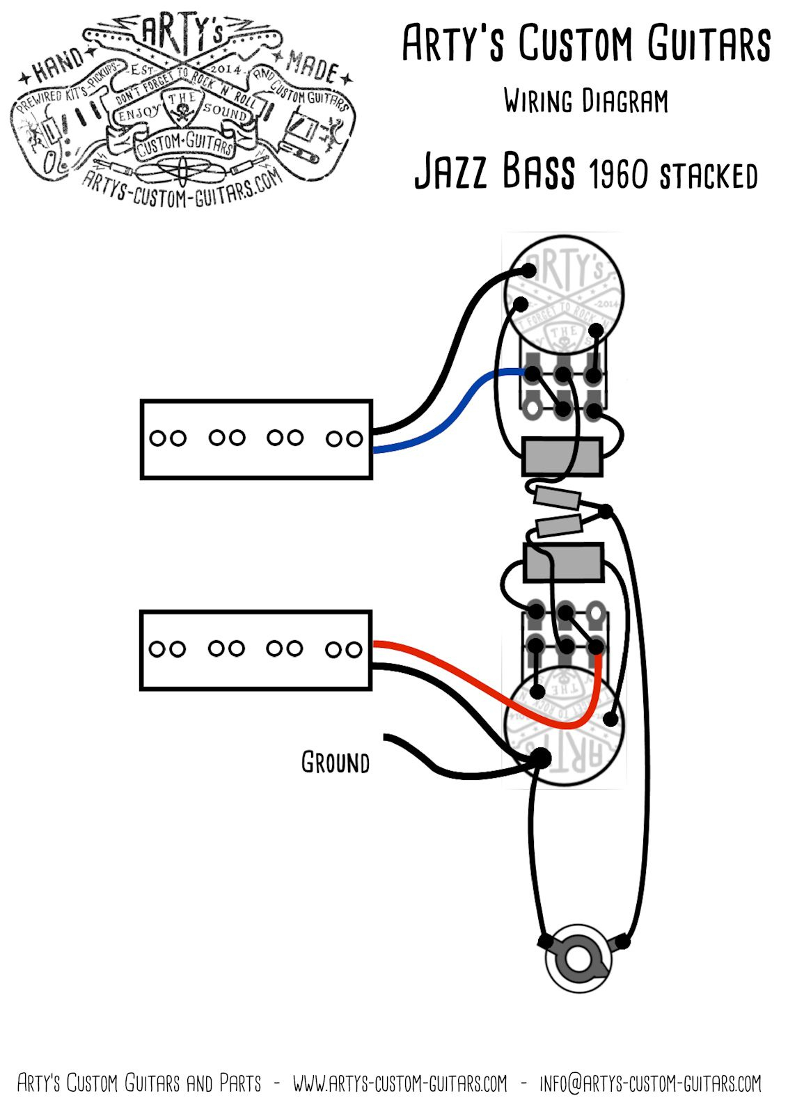 Arty's Custom Guitars Vintage Pre-Wired Prewired Kit Wiring Assembly - Bass Wiring Diagram