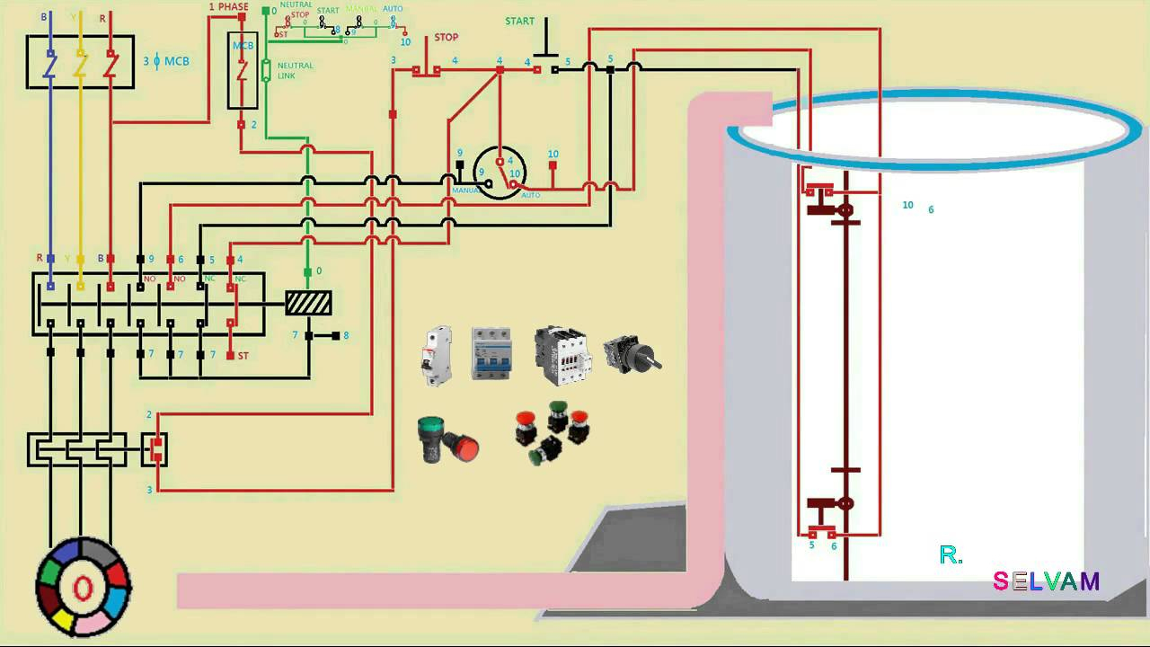 Automatic Water Level Control Starter Connection And Working - Single Phase House Wiring Diagram