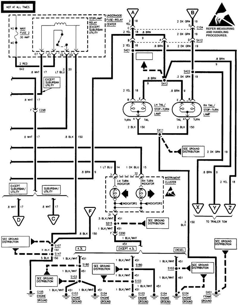 Brake Light Wiring Diagram 1994 Gmc Sierra 97 Tail Free Download   1994 Chevy Truck Brake Light Wiring Diagram