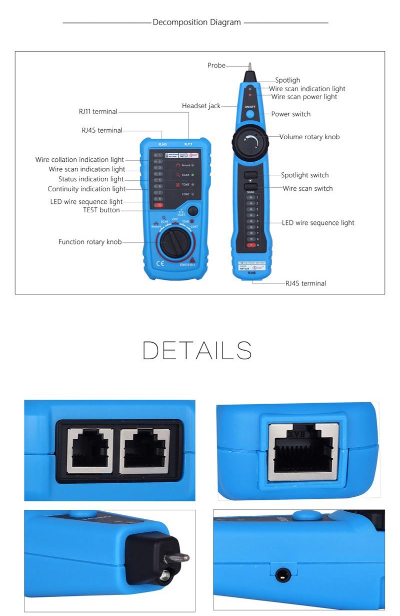 Bside Fwt11 Rj11 Rj45 Wire Tracker Tracer Telephone Ethernet Lan - Rj11 To Rj45 Wiring Diagram