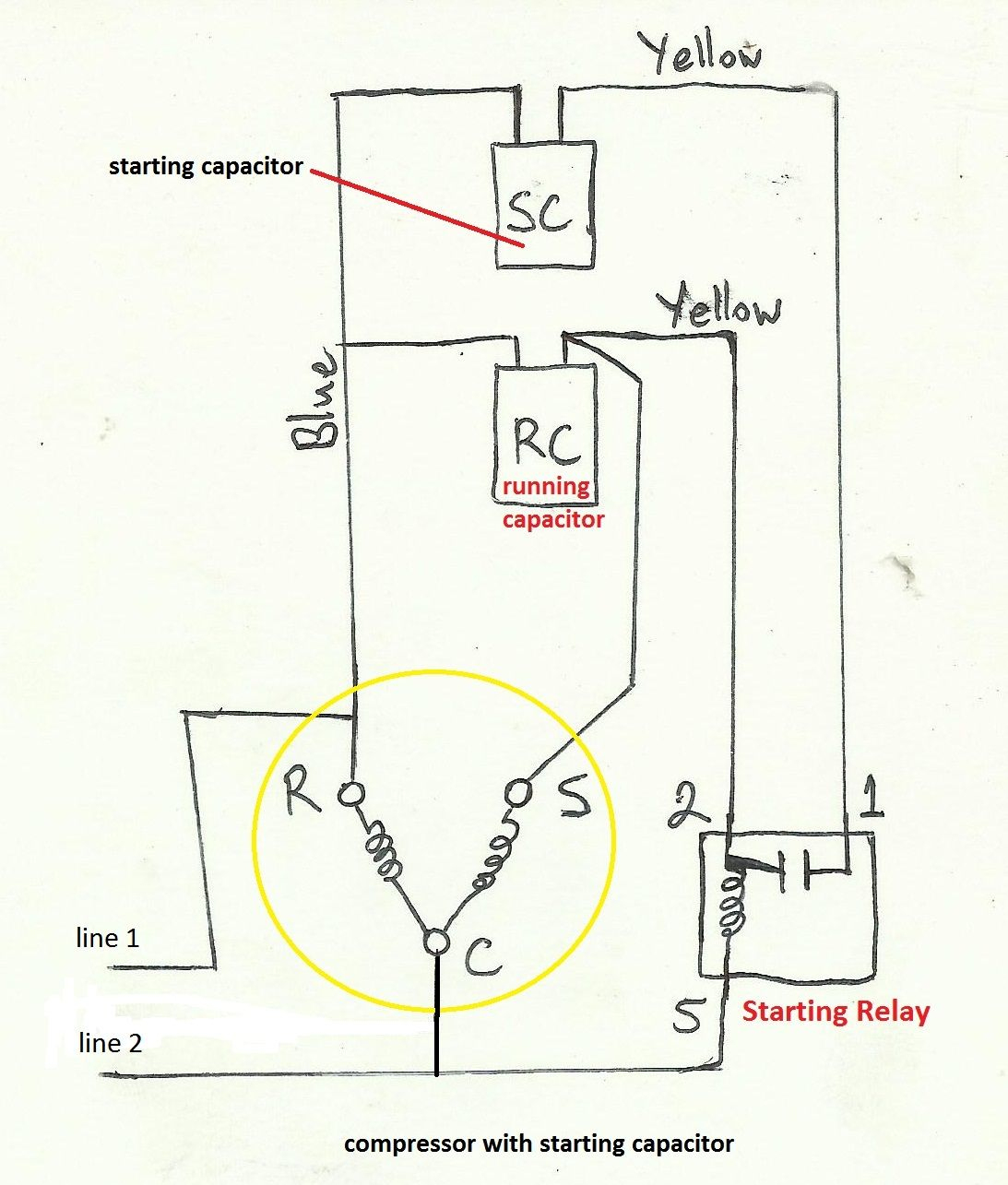 Capacitors For Compressor Wiring Diagram - Wiring Diagram Explained - Compressor Wiring Diagram Single Phase