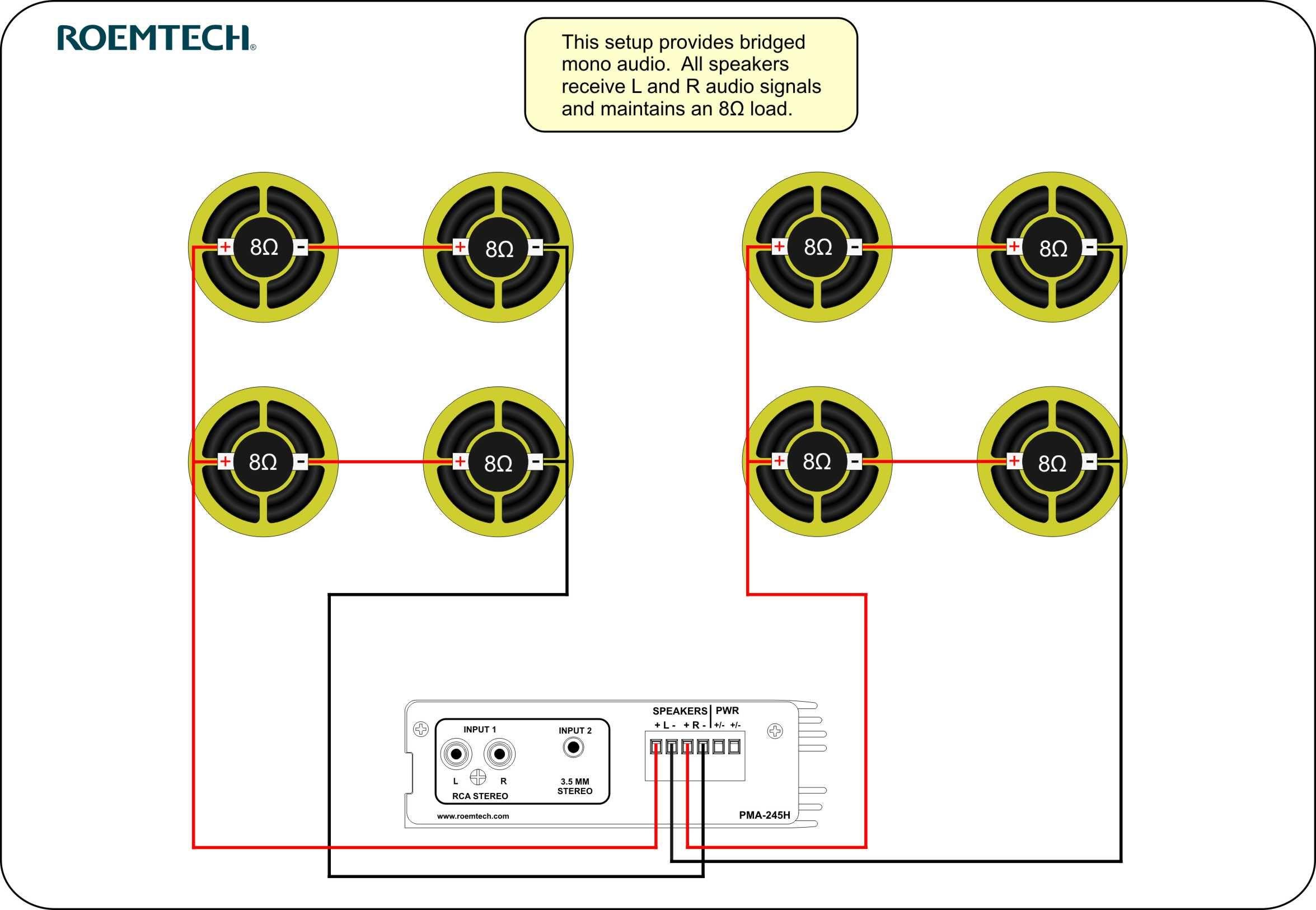 Classroom Audio Systems - Multiple Speaker Wiring Diagram   Kar - Home Speaker Wiring Diagram