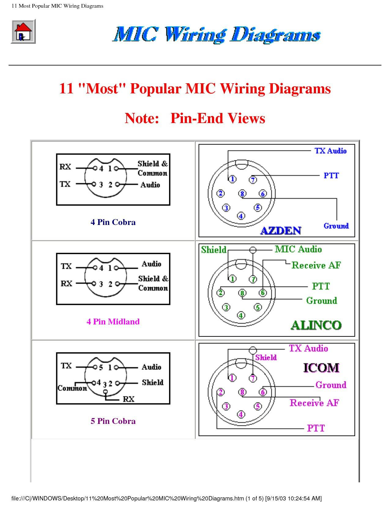 Cobra Power Mic Wiring Diagram | Wiring Diagram - 4 Pin Cb Mic Wiring Diagram
