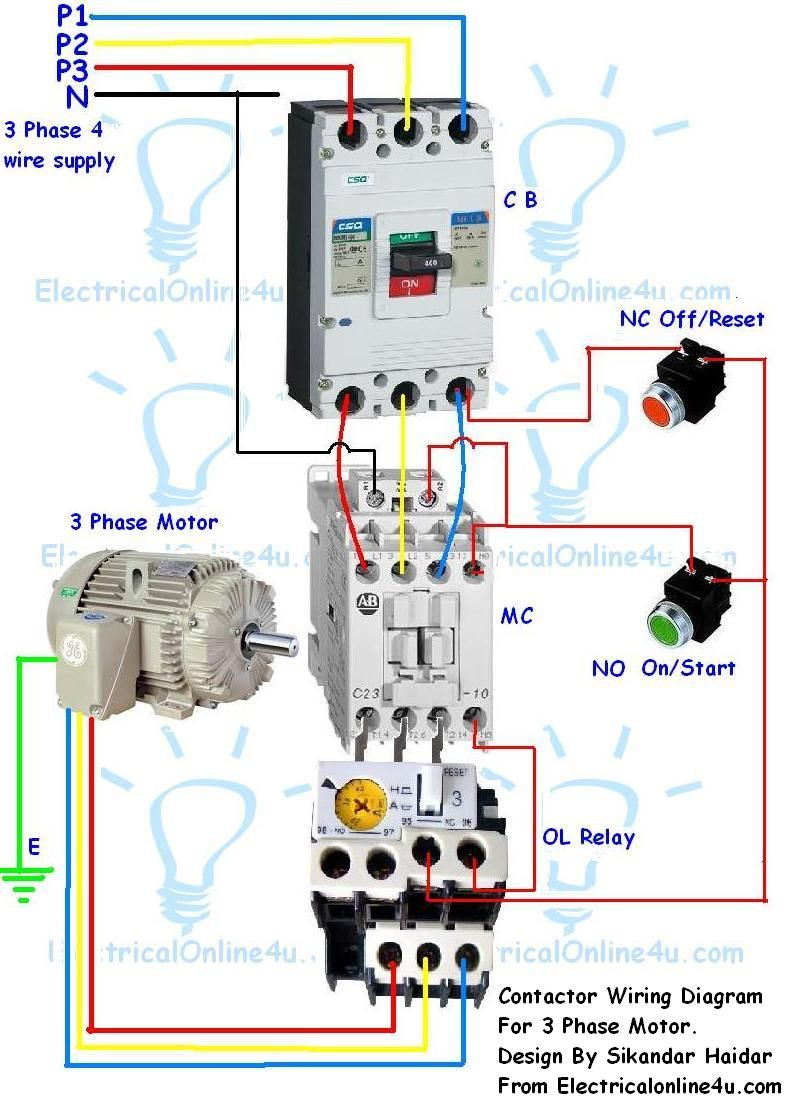 Contactor Wiring Guide For 3 Phase Motor With Circuit Breaker - 3 Phase Contactor Wiring Diagram Start Stop