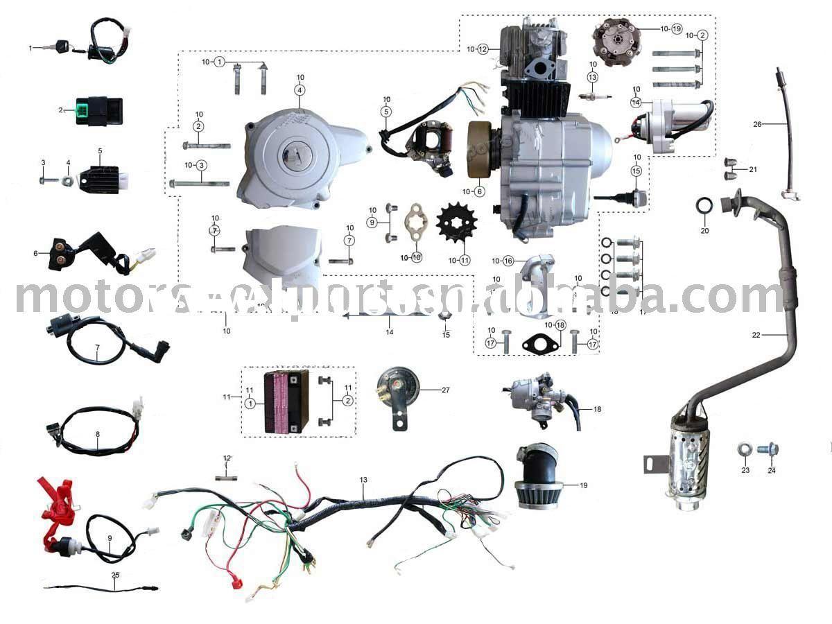 Coolster 110Cc Atv Parts Furthermore 110Cc Pit Bike Engine Diagram - Chinese 125Cc Atv Wiring Diagram
