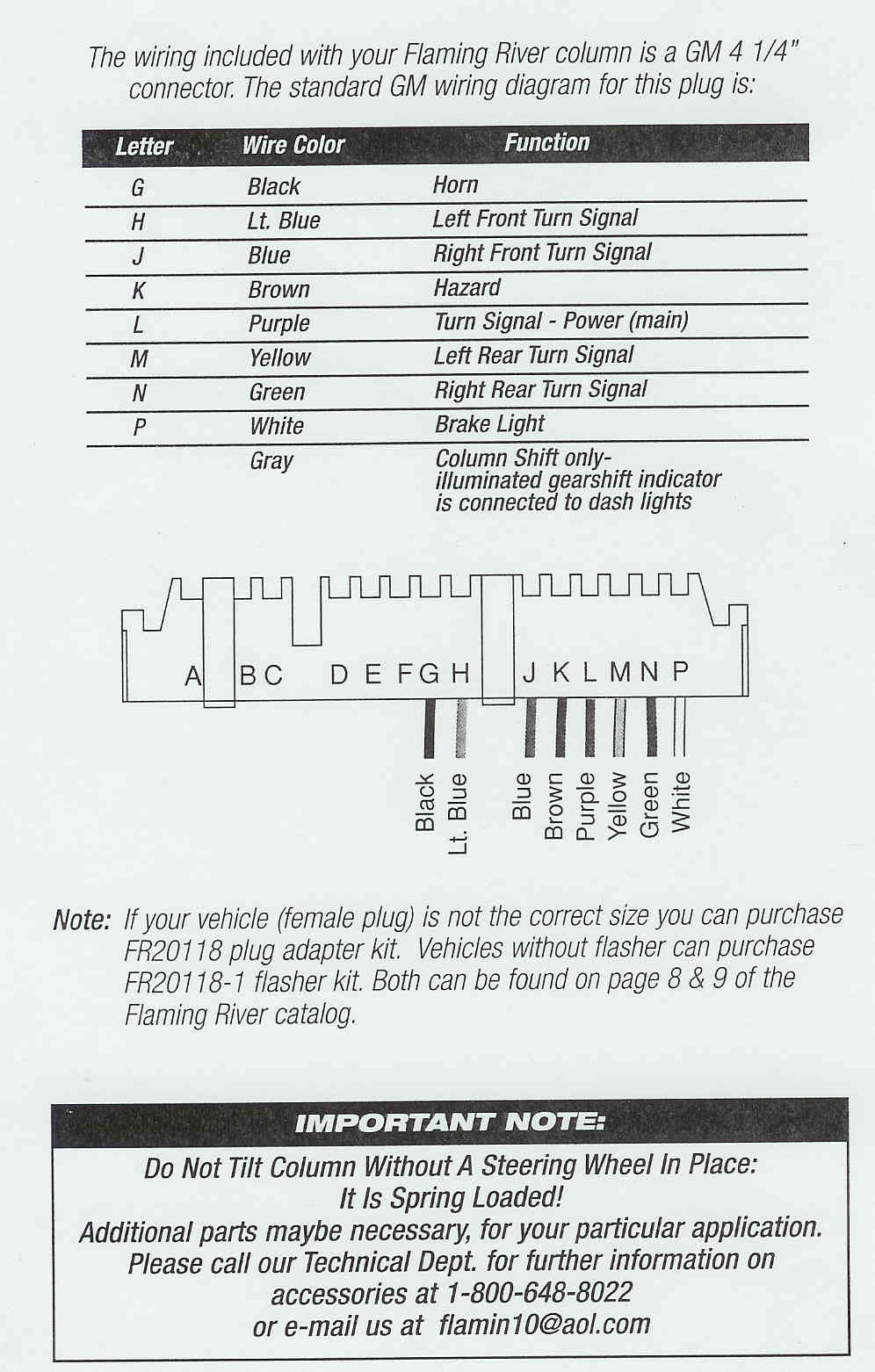 Custom Wiring Diagram - Chevy Tilt Steering Column Wiring Diagram