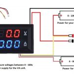 dc 100v 10a voltmeter ammeter blue + red led amp dual digital volt  digital volt amp � digital amp meter wiring diagram