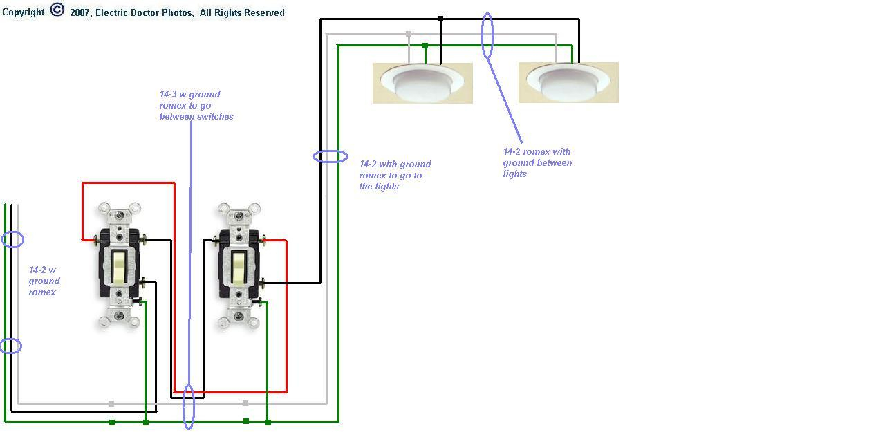 Diagram For Wiring 4 Fluorescent Lights Between Two 3Way Switches - Wiring Two Lights To One Switch Diagram