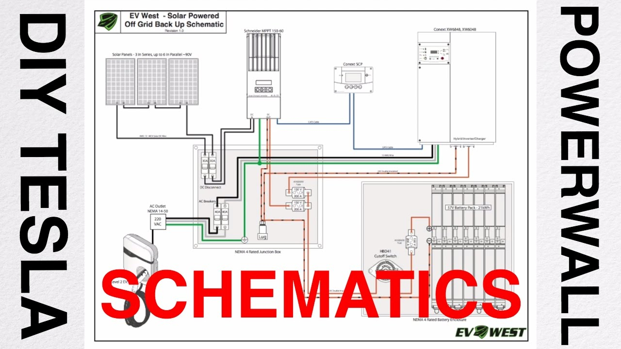 Diy Tesla Powerwall Talk #3 - Schematic Diagram - Youtube - Tesla Powerwall 2 Wiring Diagram
