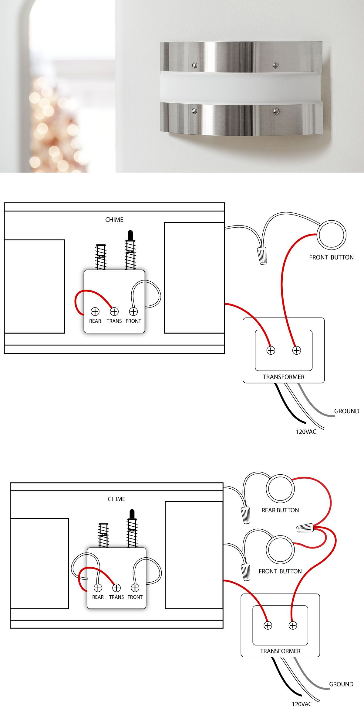 Doorbell Wiring Diagrams | Diy - Fix It | Doors, Wire, Electrical Wiring - Doorbell Wiring Diagram Two Chimes