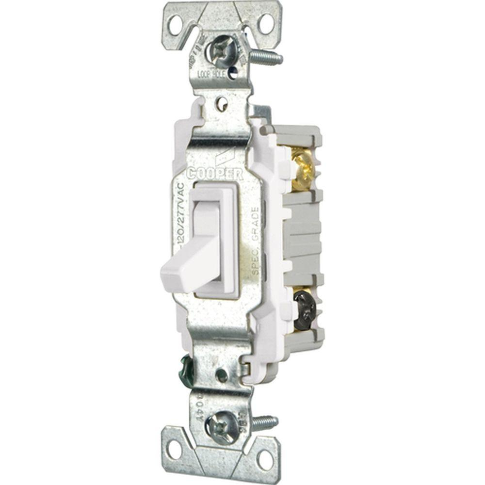 Eaton 15 Amp 3-Way Light Switch, White-Csb315Stw-Sp - The Home Depot - Single Pole Light Switch Wiring Diagram