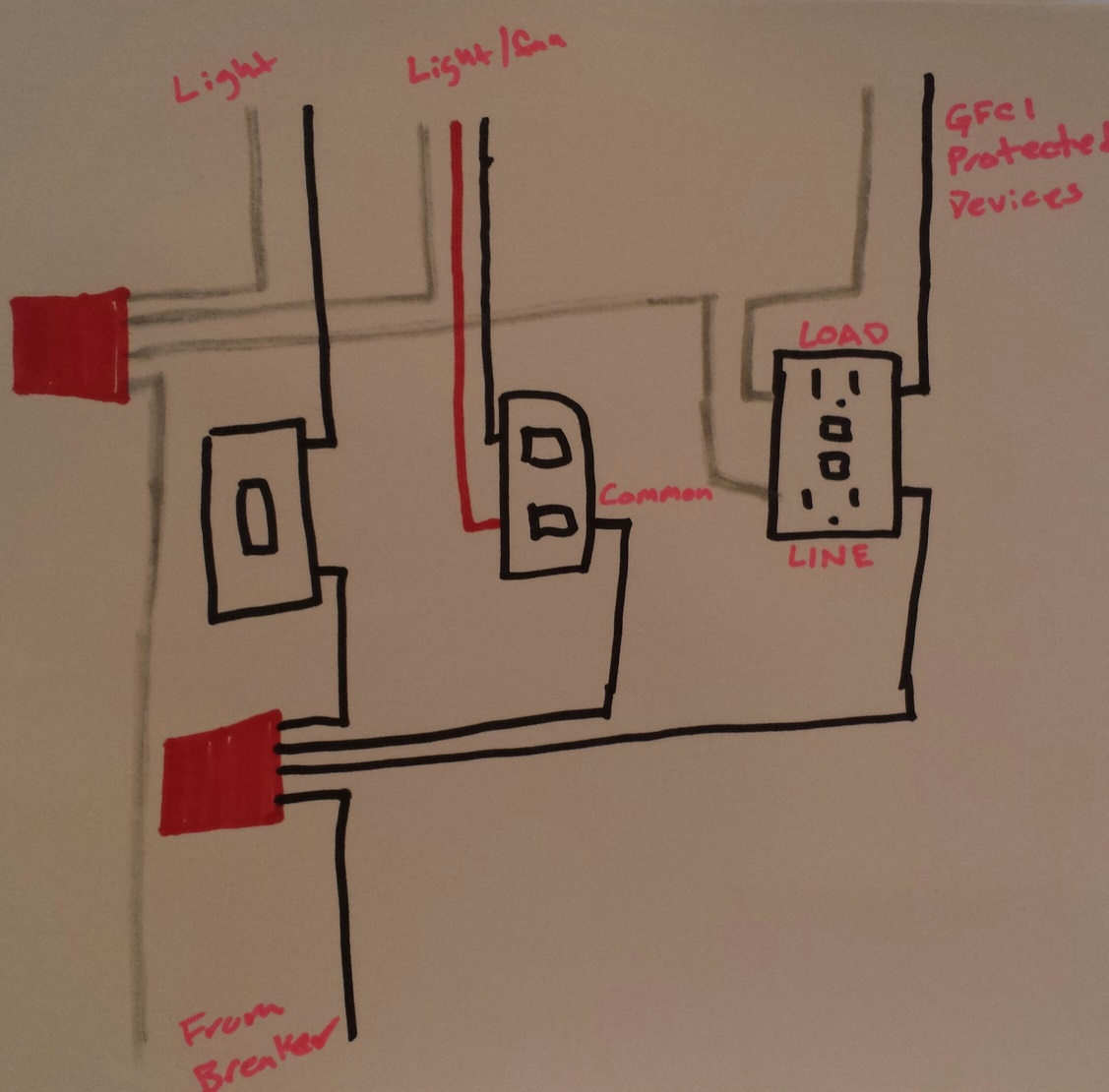Electrical - Taking Power From Double Light Switch To Gfci Outlet - Dual Light Switch Wiring Diagram