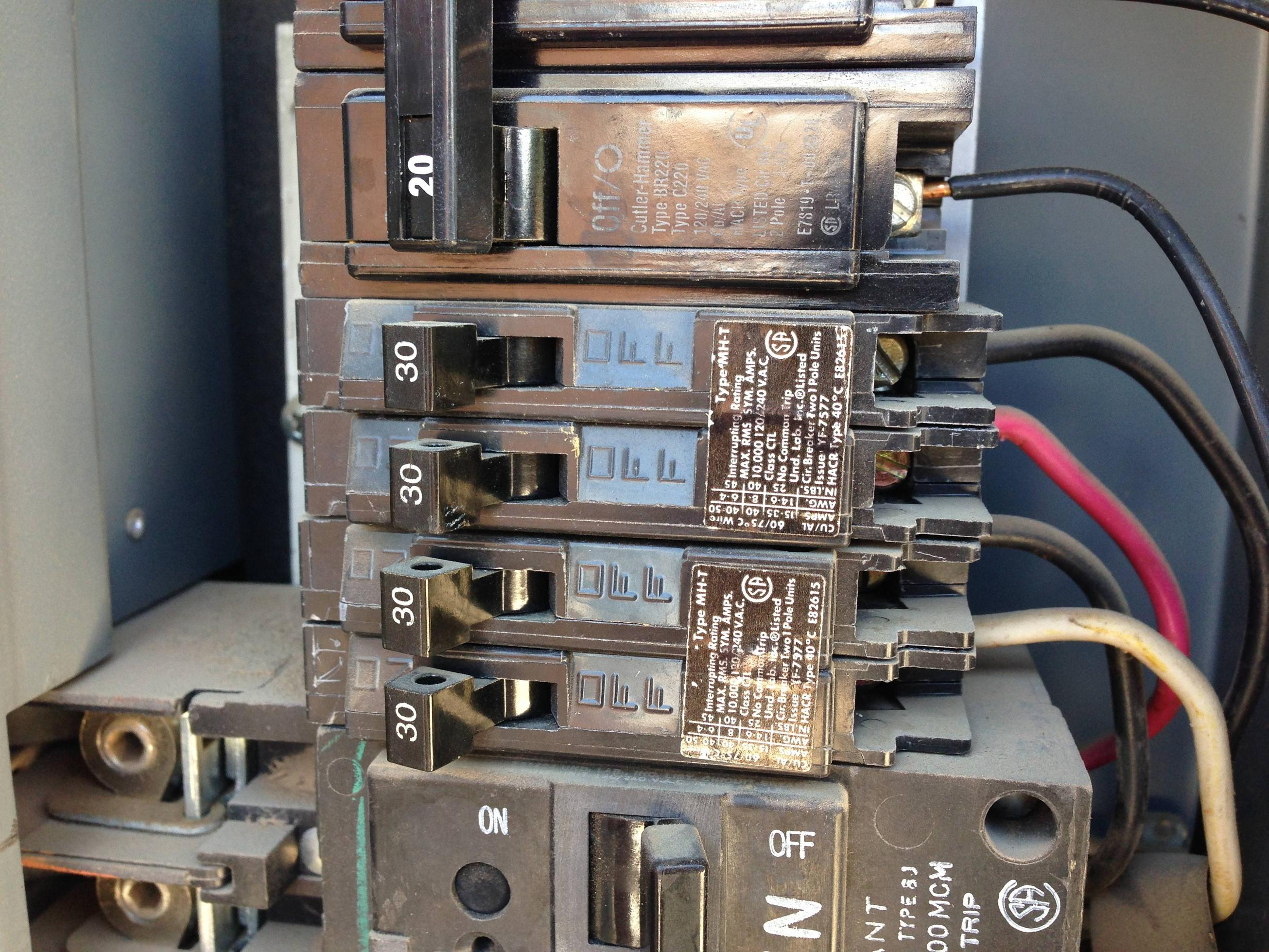 Electrical - Using A 30-Amp Tandem Circuit Breaker For A 120/240V - Double Pole Circuit Breaker Wiring Diagram