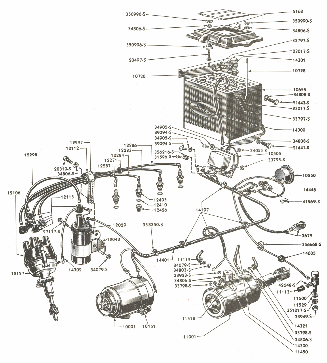 Electrical Wiring Parts For Ford 8N Tractors (Asn 263843) - Ford 8N Wiring Diagram