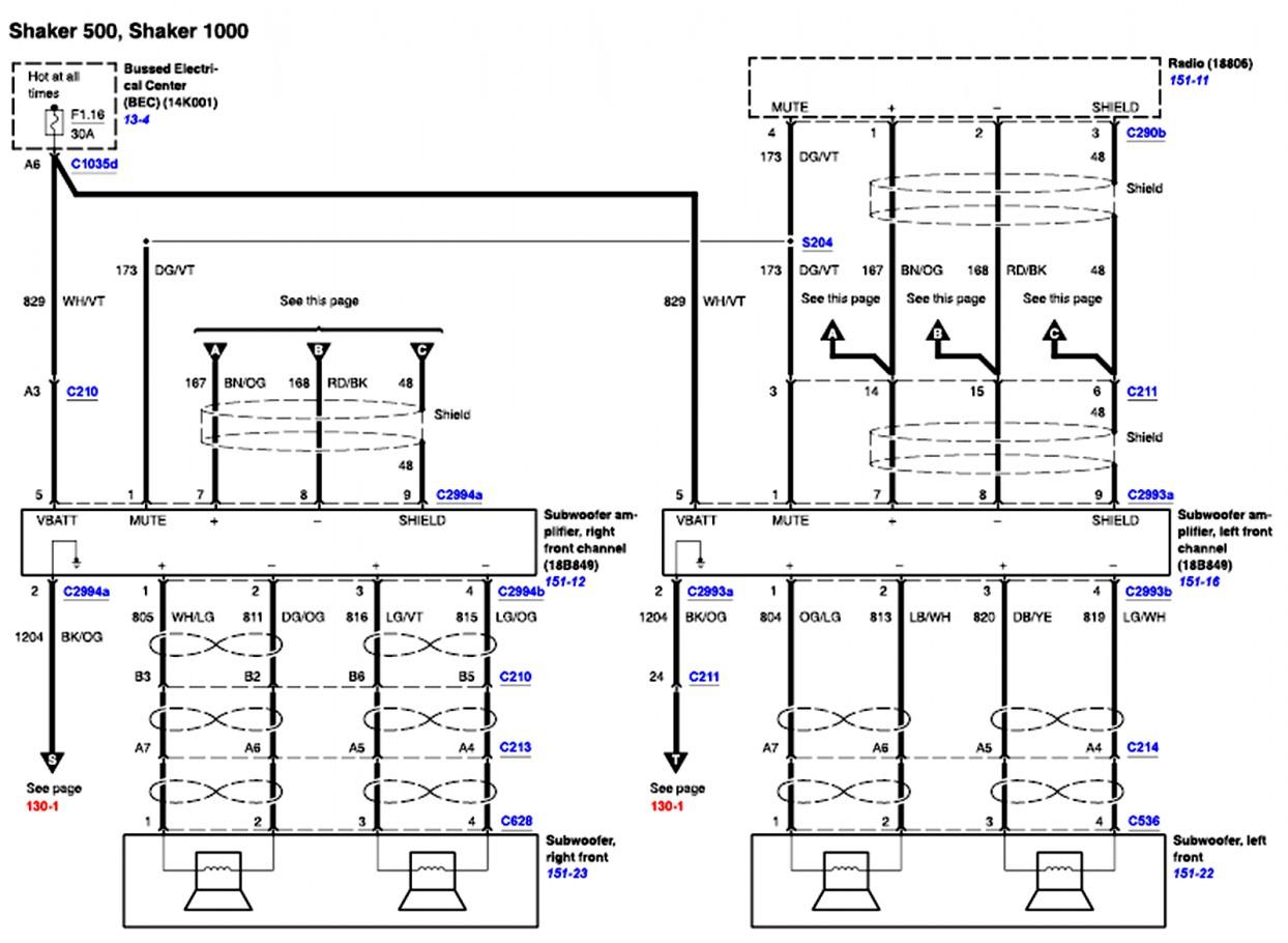 Elegant 2007 Ford F150 Radio Wiring Diagram Mach 1000 Audio System - Ford Radio Wiring Diagram Download