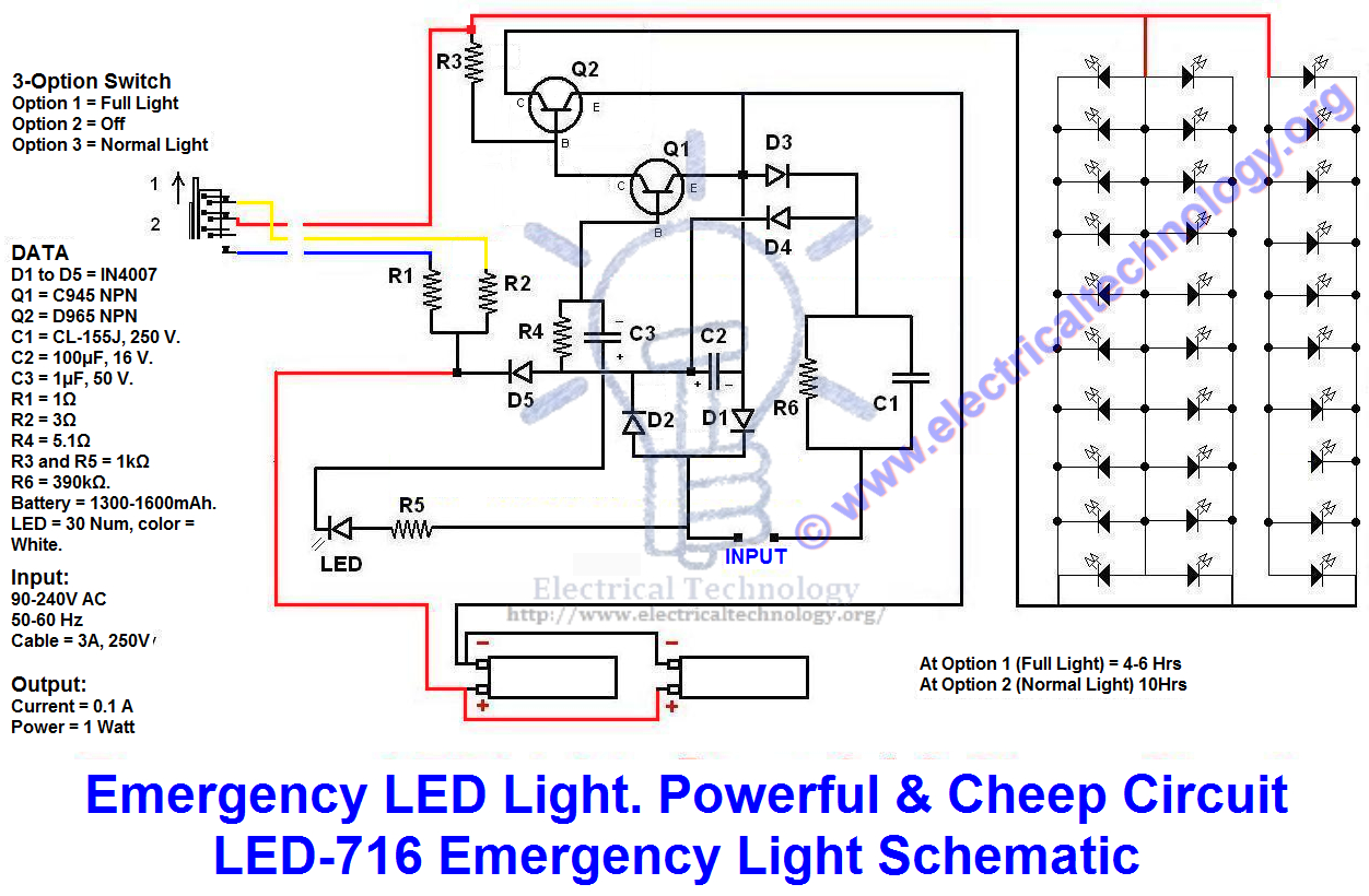 Emergency Led Lights. Powerful & Cheap Led-716 Circuit - Led Wiring Diagram