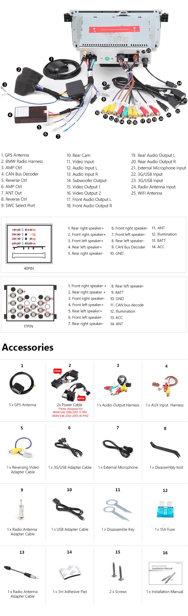 Eonon Ga7150A | Bmw E46 Android 6.0 Octa Core Car Stereo Gps - Eonon Wiring Diagram