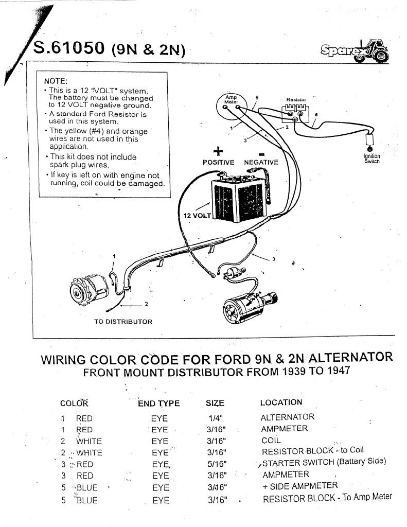 Ford 2N 12 Volt Conversion Wiring Diagram | Wiring Diagram - 9N Ford Tractor Wiring Diagram