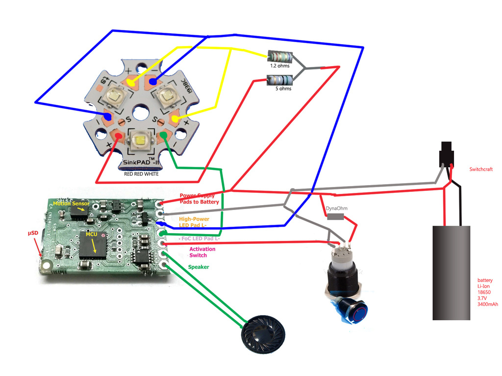 Full Op Sabre Sith : Nano Biscotte + 3 Leds (Red,red,white) Flash - Nano Biscotte V4 Wiring Diagram
