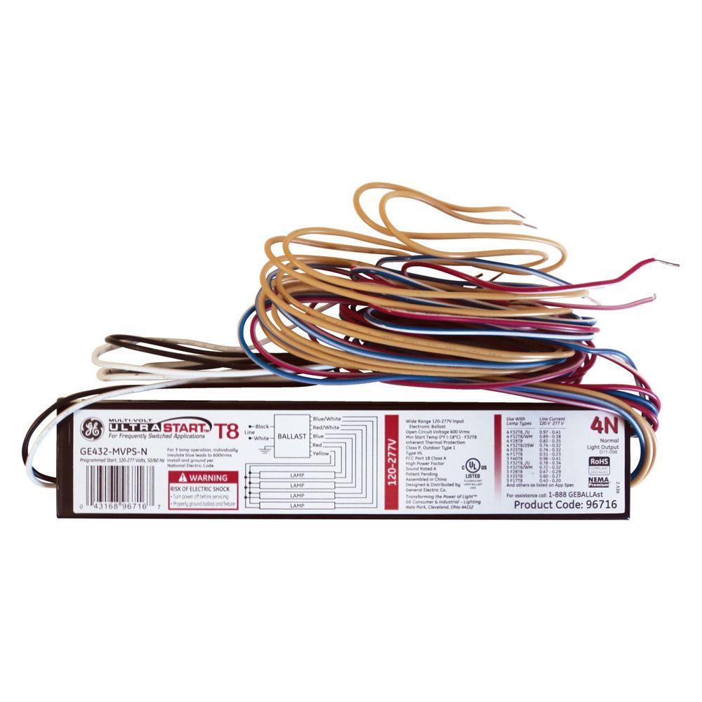 Ge 120 To 277-Volt Electronic Program Start Ballast For 4 Ft. 4-Lamp - 4 Lamp T8 Ballast Wiring Diagram