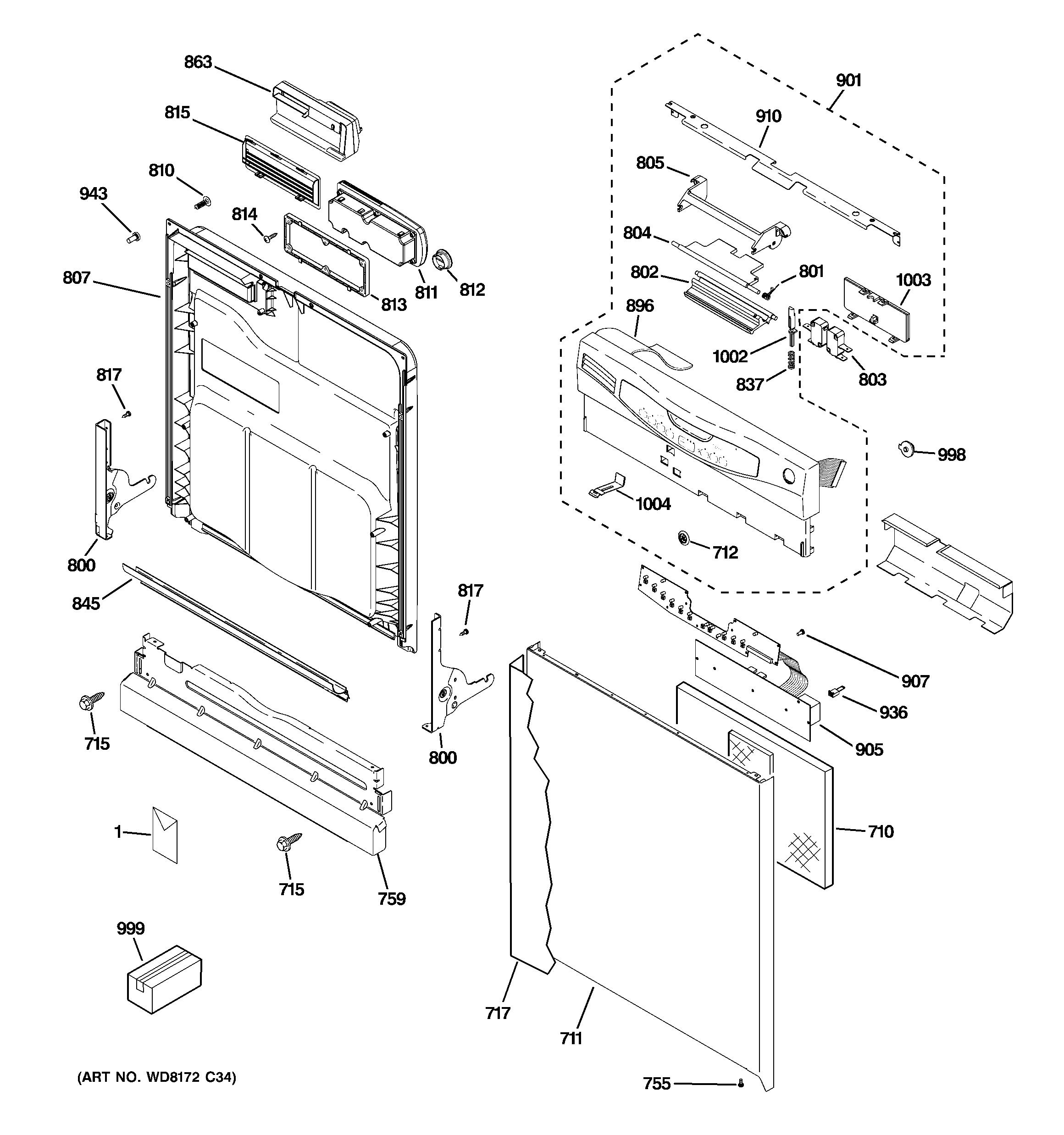 Ge Model Gld5600V00Ww Dishwasher Genuine Parts - Ge Refrigerator Wiring Diagram
