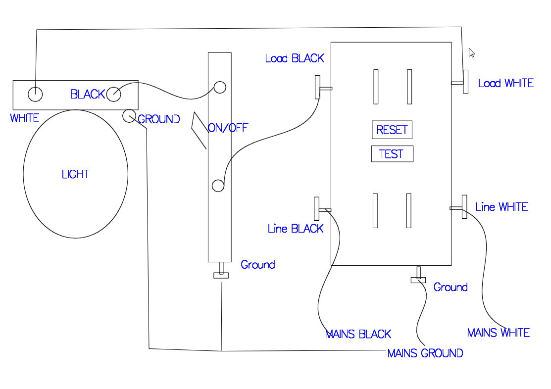 Gfci Receptacle With A Light Fixture With An On/off Switch In - Wiring A Gfci Outlet With A Light Switch Diagram