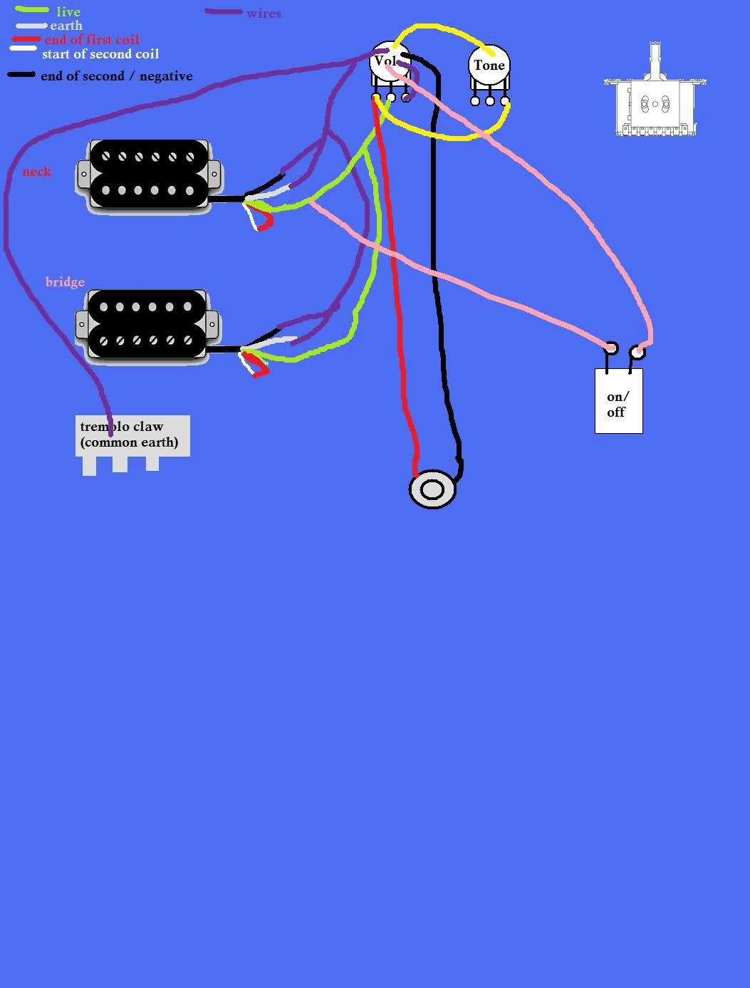Guitar Wiring Diagrams 2 Pickups 1 Volume 1 Tone | Wiring Diagram - Guitar Wiring Diagram 2 Humbucker 1 Volume 1 Tone
