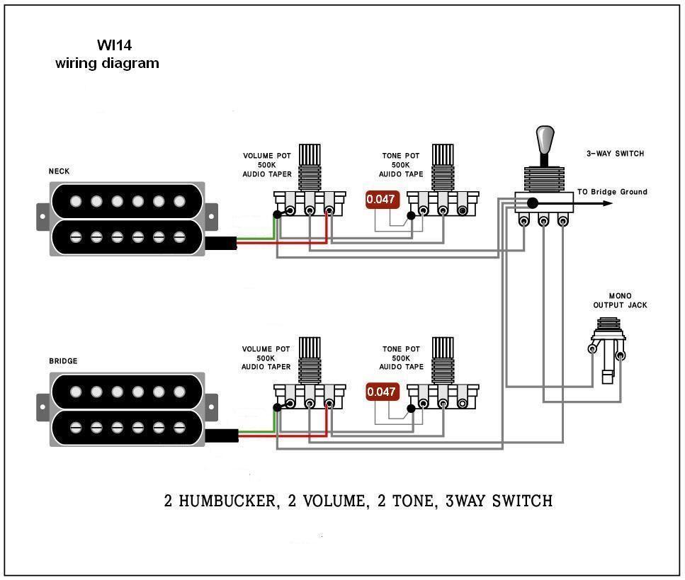 Guitar Wiring Schematics - Wiring Diagrams Hubs - Guitar Wiring Diagram 2 Humbucker 1 Volume 1 Tone