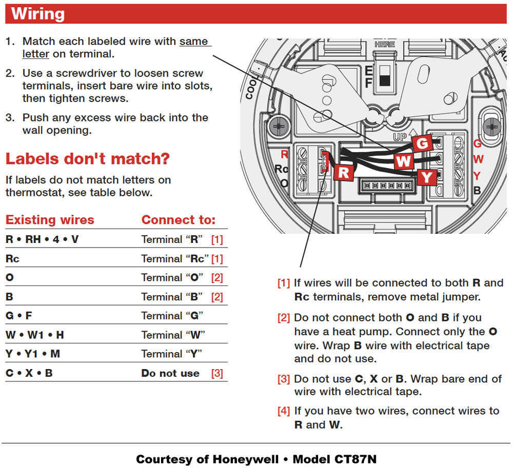 Honeywell Thermostat Wiring Instructions | Diy House Help - 5 Wire Thermostat Wiring Diagram