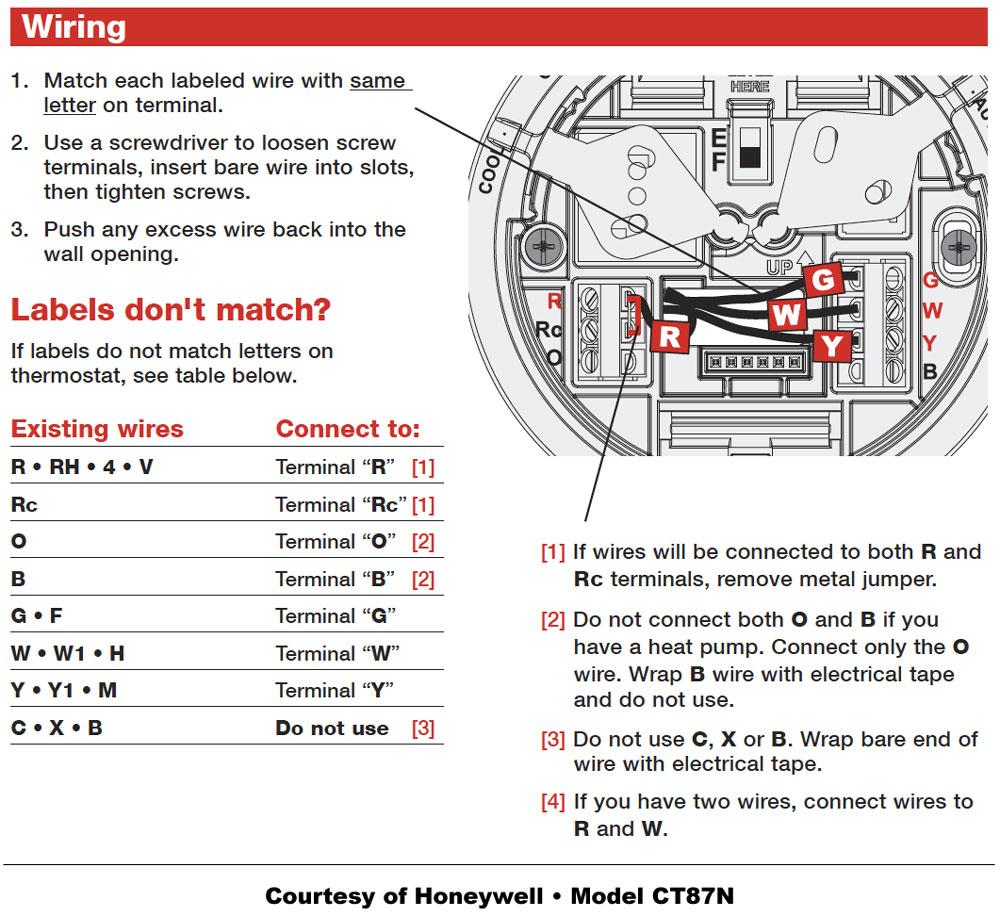 Honeywell Thermostat Wiring Instructions | Diy House Help - Honeywell Heat Pump Thermostat Wiring Diagram