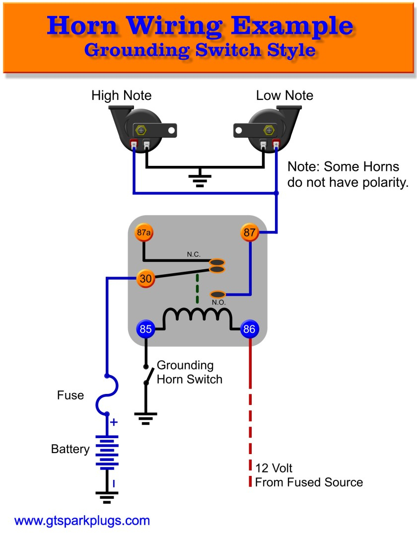 Horn Relay | Schematic Diagram - Relay Wiring Diagram