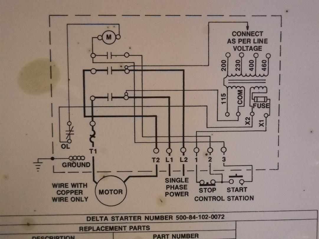 "How To Hook Up Power To A Delta 14"" Radial Saw Magnetic Starter Box - Starter Wiring Diagram"
