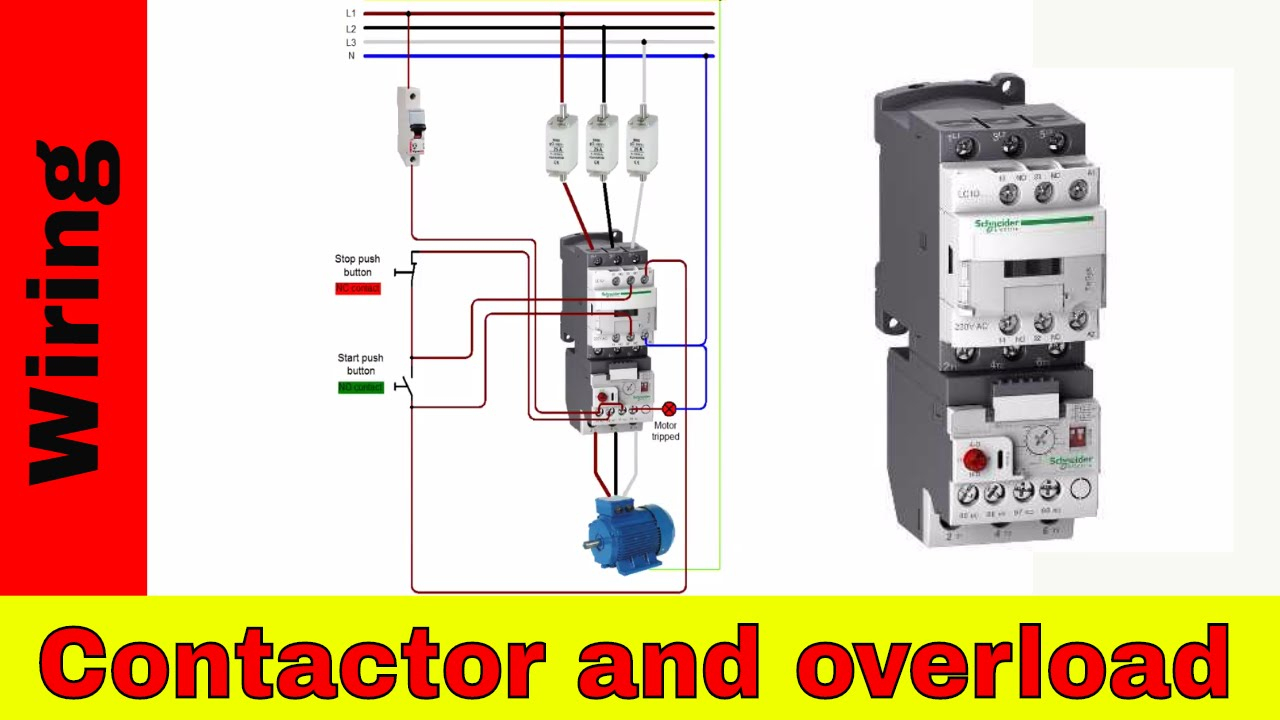 How To Wire A Contactor And Overload - Direct Online Starter. - Youtube - Motor Starter Wiring Diagram