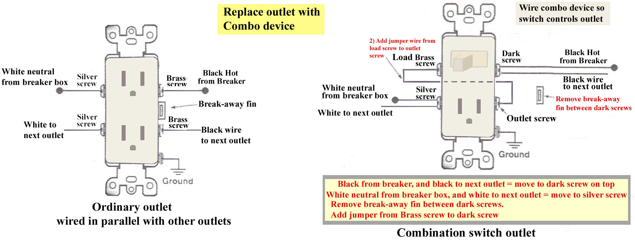 How To Wire Combination Switch Outlet - Switched Outlet Wiring Diagram
