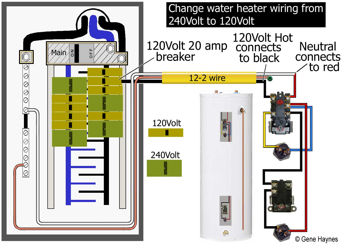 How To Wire Water Heater For 120 Volts - 240 Volt Heater Wiring Diagram