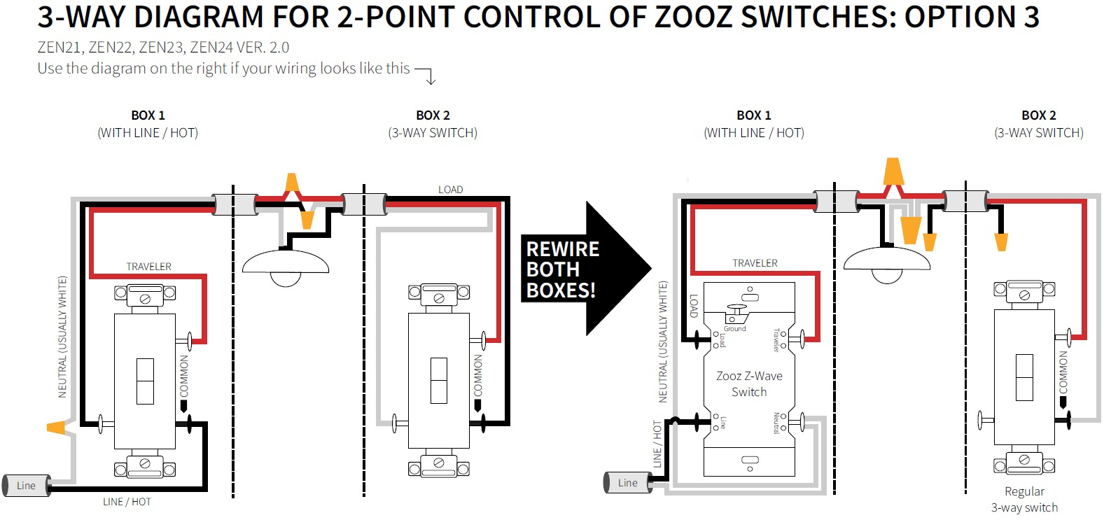 How To Wire Your Zooz Switch In A 3-Way Configuration - Zooz - Wiring Diagram For 3 Way Switch